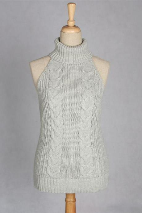 Grey Cable Knit Turtleneck Sleeveless Top