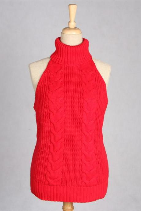 Sexy Backless Turtleneck Sleeveless Sweater Japanese Knitted Waistcoat Cosplay Vest Women Pullover red
