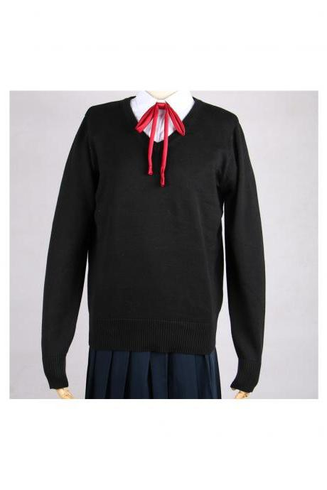 Japanese School Harajuku Style JK Uniforms Sweater Long Sleeve Students Knitted V-Neck Sweater black