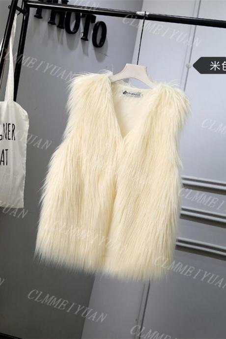 Women Faux Fur Vest Solid Winter Loose Oversize Female Sleeveless Jacket Waistcoat salmon