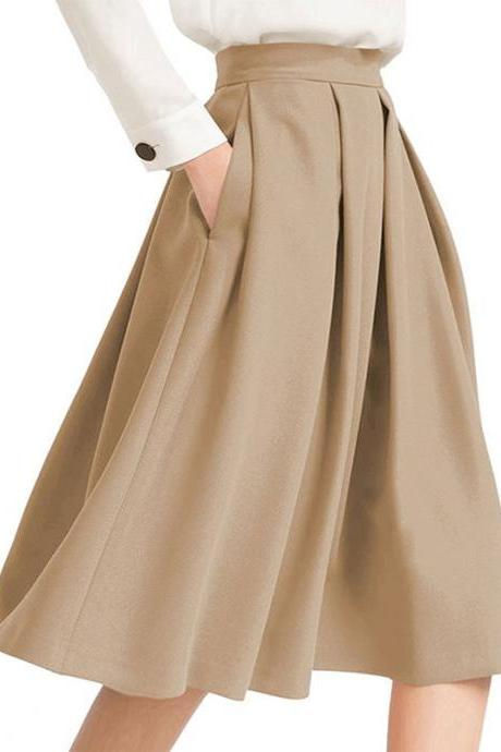 Khaki High Rise Pleated A-Line Knee Length Skirt Featuring Pockets
