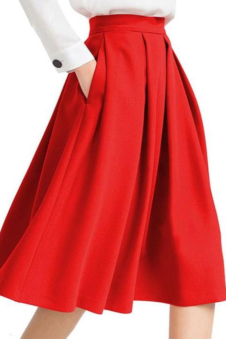 Red High Rise Pleated A-Line Knee Length Skirt Featuring Pockets