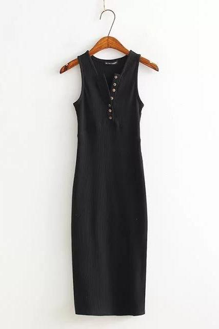 Black Ribbed Long Pencil Casual Dress