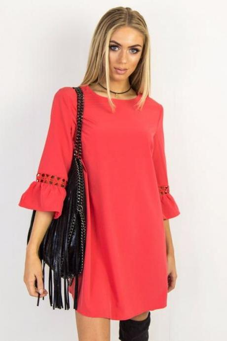 Red O-Neck Casual Short Shift Dress with 3/4 Sleeves and Lace Hollow Out