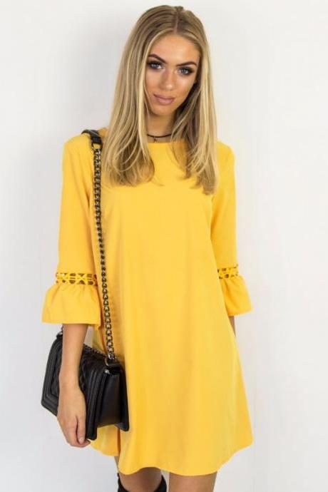 Yellow O-Neck Casual Short Shift Dress with 3/4 Sleeves and Lace Hollow Out