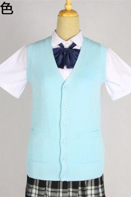 Japanese JK Uniform Cardigans Vest Cosplay Student Cotton V Neck Sleeveless Sweater light blue