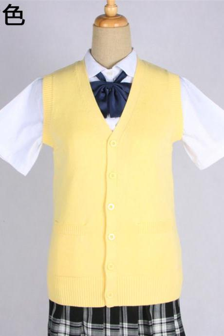 Japanese JK Uniform Cardigans Vest Cosplay Student Cotton V Neck Sleeveless Sweater yellow