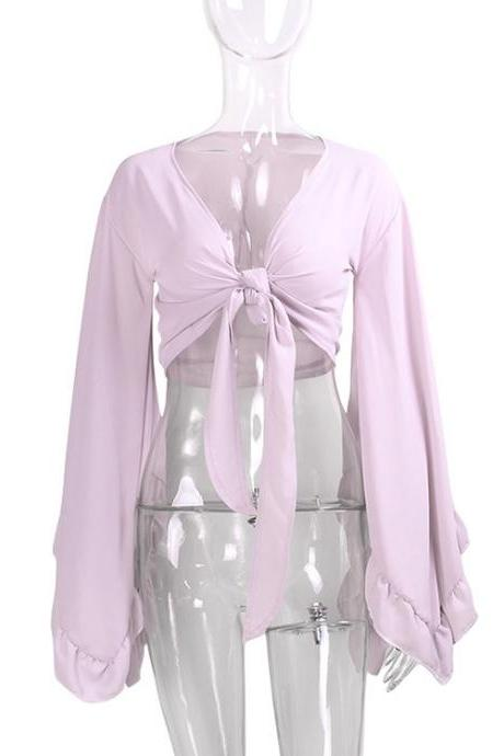 Sexy V Neck Bow Tie Short Cross Tops Women Summer Chiffon Long Sleeve Cropped Tee Shirt lilac