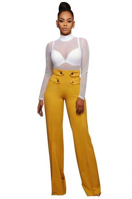 Hot Women High Waist Wide Leg Long Pants Office Lady Career Buttons Casual Trousers yellow