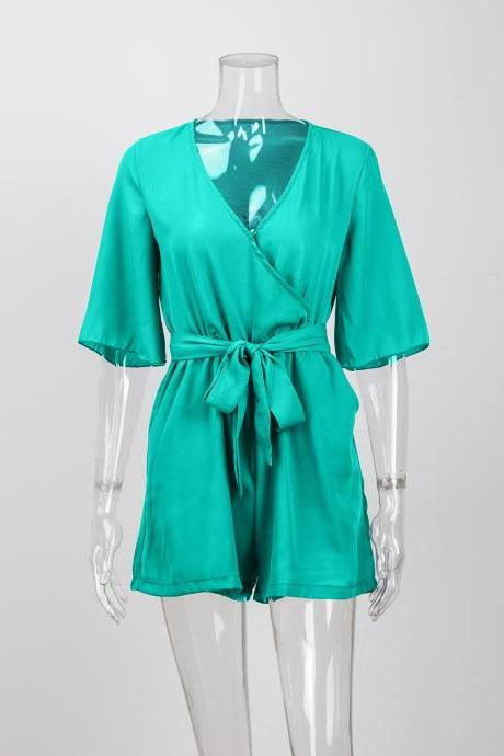 Women Summer Short Jumpsuit V Neck Chiffon Sexy Playsuit Half Sleeve Belted Beach Party Rompers green