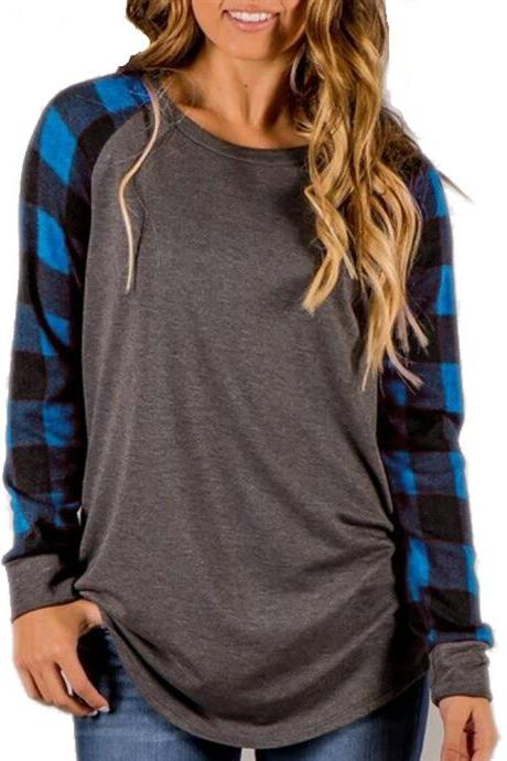 Plus Size Women T-Shirt Plaid Raglan Long Sleeve Patchwork O-Neck Baseball Tops Pullover blue