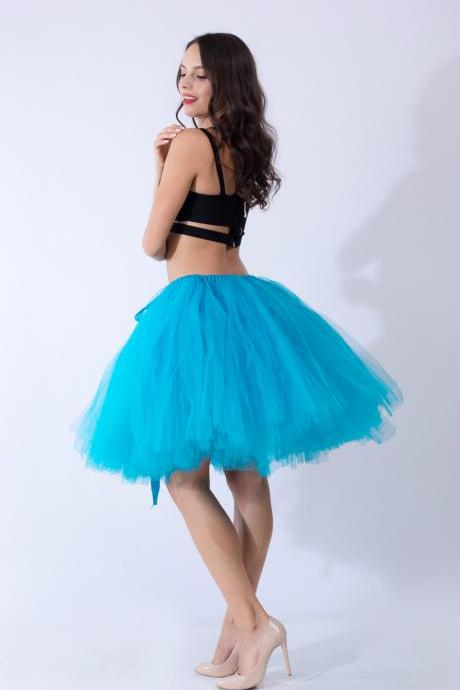 Midi Tulle Skirt Elegant Wedding Bridal Bridesmaid Women TUTU Skirt Lolita Petticoat blue