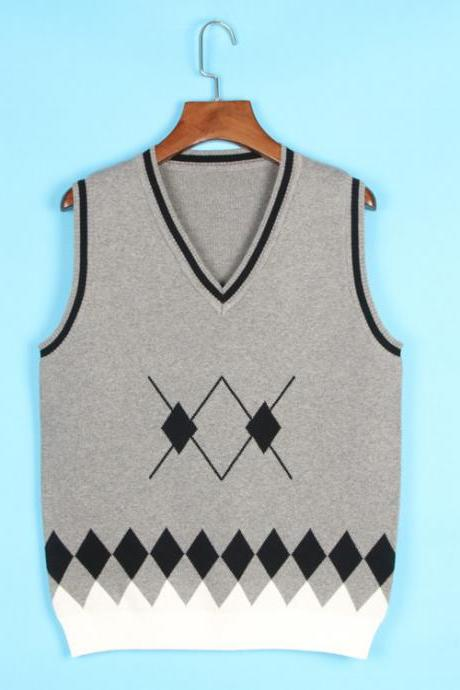 Spring Autumn V-Neck Knitted Vest Boys and Girls Japanese School Uniform Sleeveless Sweater gray