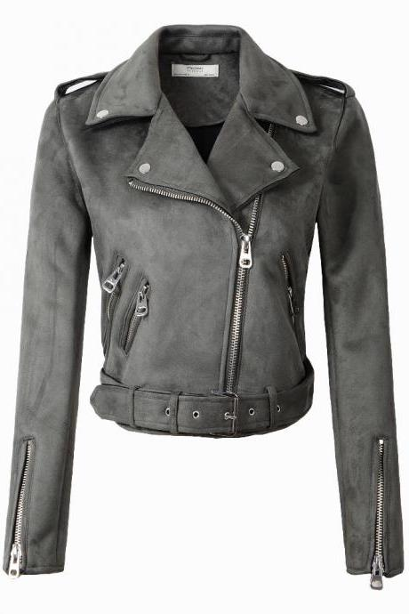New Arrial Women Suede Faux Leather Jackets Lady Fashion Motorcycle Coat Biker Outerwear gray