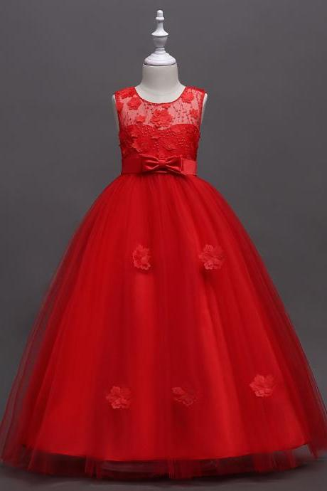 Long Flower Girl Dress Teen Kids Formal Party Wedding Birthday Gown Children Clothes red