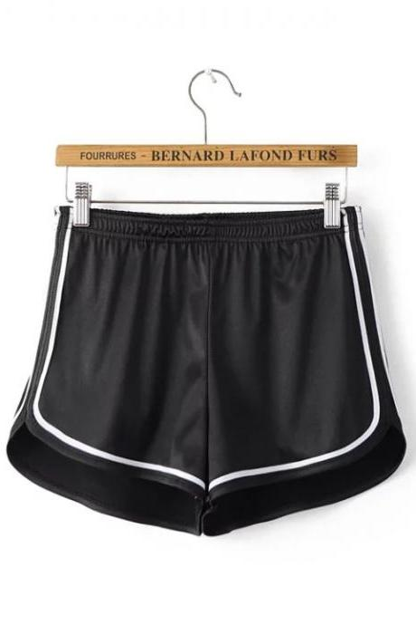 Summer Girl Casual Shorts Women Mini Side Striped Elastic High Waist Leisure Sport Shorts black