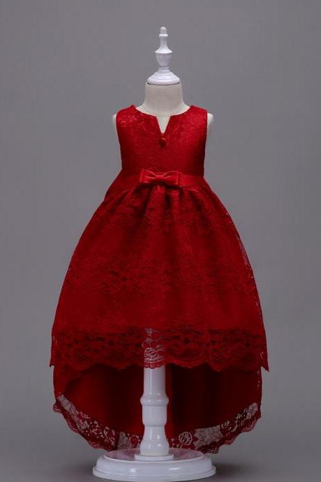 High Low Lace Flower Girl Dress Princess Wedding Birthday Party Teenage Children Clothes wine red