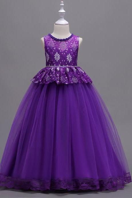 Long Lace Flower Girl Dress Princess Teens Wedding Formal Party Gown Children Clothes purple