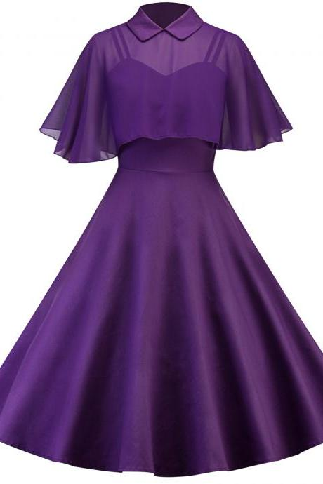 Vintage Hepburn 50 60s Casual Dress Doll Collar Butterfly Sleeve Cloak Big Swing Cocktail Party Dress purple