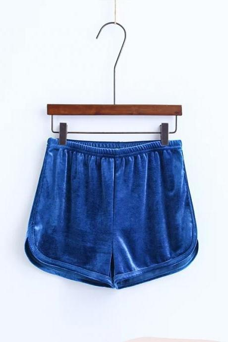 Workout Shorts Women Summer Loose Casual Elastic High Waist Velvet Shorts blue