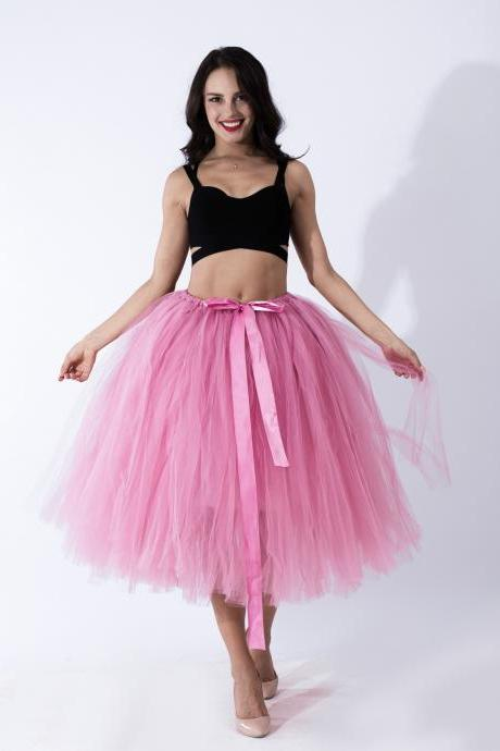 Women Puffy Tutu Skirts Long Tea Length Tulle Skirt Wedding Bridesmaid Lolita Underskirt blush