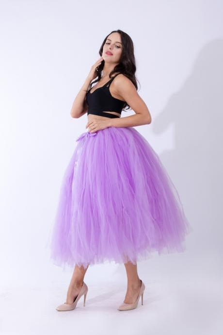 Women Puffy Tutu Skirts Long Tea Length Tulle Skirt Wedding Bridesmaid Lolita Under skirt lilac