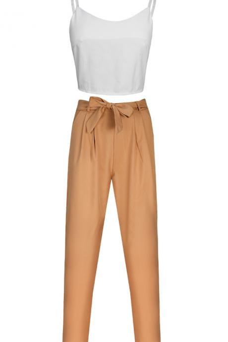 Women Suit Spaghetti Straps Crop Top+Long Pants Two Piece Set Office Party Clothing khaki