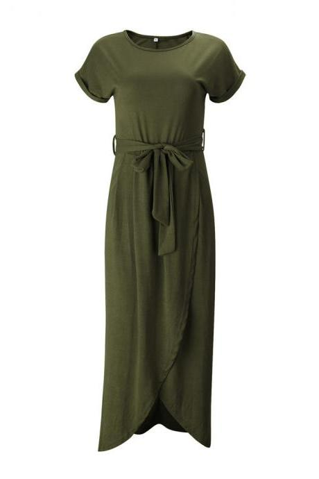 Women Casual Maxi Long Shirt Dress Slim Short Sleeve Bowk Belted Asymmetrical Office Party Sundress army green