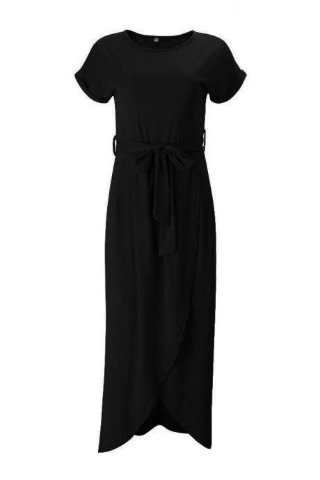 Women Casual Maxi Long Shirt Dress Slim Short Sleeve Bowk Belted Asymmetrical Office Party Sundress black