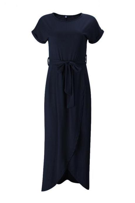 Women Casual Maxi Long Shirt Dress Slim Short Sleeve Bowk Belted Asymmetrical Office Party Sundress navy blue