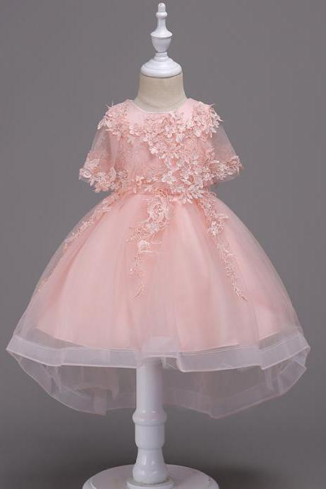 Princess Lace Flower Girl Dress High Low Kids Wedding Bridesmaid Party Children Clothes pink