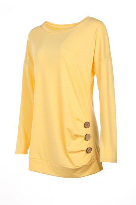 Women T-Shirt Casual O-Neck Buttons Ladies Girls Summer Slim Long Sleeve Tops yellow