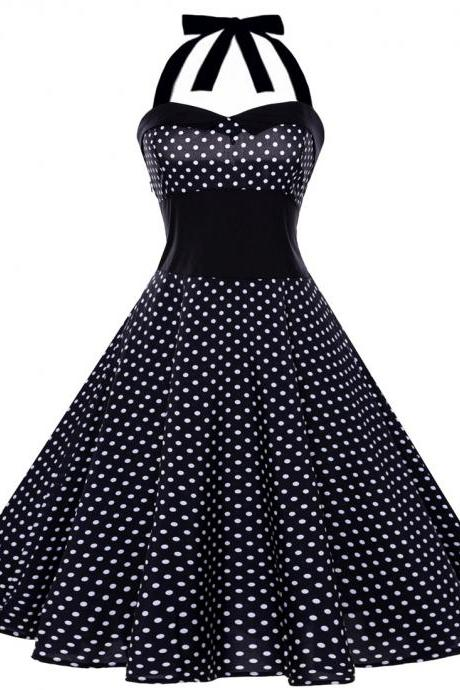 Vintage Polka Dot/Floral Dress Halter Backless Big Swing Women Casual Party Dress 3#