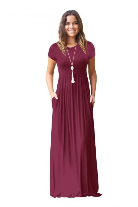 Women Maxi Long Dress Short Sleeve O Neck Solid Slim Pockets Spring Casual Party Dress burgundy