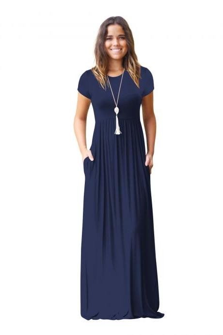 Navy Blue O-Neck Casual Maxi Dress with Short Sleeves and Side Pockets