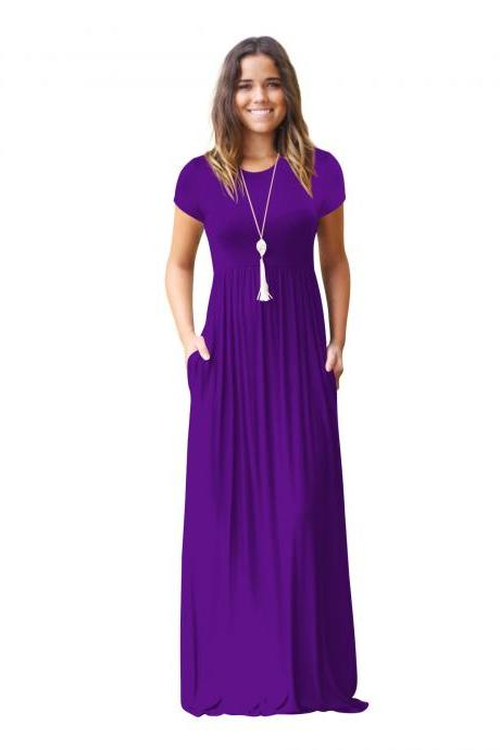 Purple O-Neck Casual Maxi Dress with Short Sleeves and Side Pockets