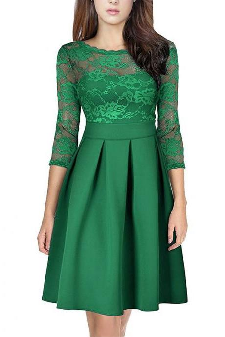 Elegant Lace Patchwork Dress Vintage 3/4 Sleeve Women A Line Cocktail Party Dress green