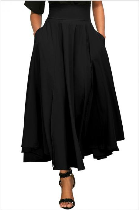 Womens Solid Long Maxi Skirt High Waist Pockets Pleated Swing Asymmetrical A Line Skirt black