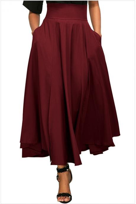 Womens Solid Long Maxi Skirt High Waist Pockets Pleated Swing Asymmetrical A Line Skirt dark red