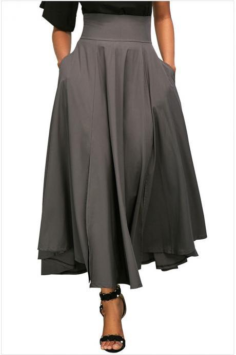 Womens Solid Long Maxi Skirt High Waist Pockets Pleated Swing Asymmetrical A Line Skirt gray