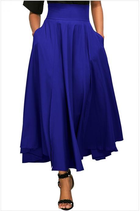 Womens Solid Long Maxi Skirt High Waist Pockets Pleated Swing Asymmetrical A Line Skirt royal blue