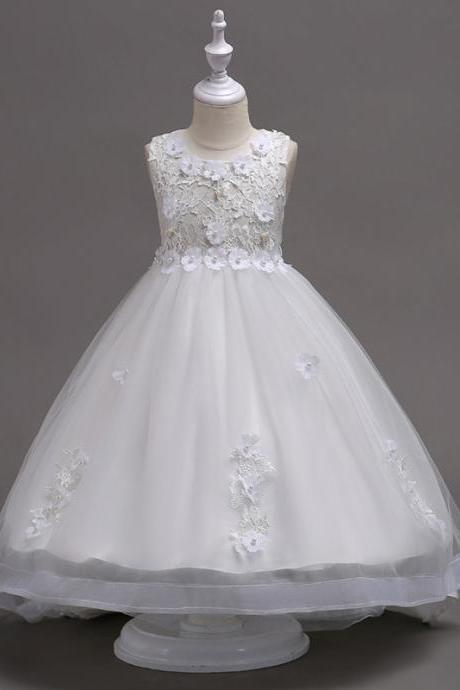 Pretty Lace High Low Flower Girl Dress Applique Wedding Holy Communion Party Gown Children Clothes off white