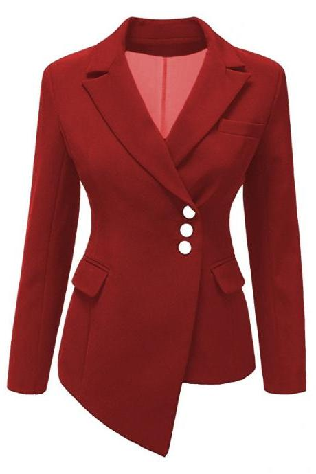 Fashion Slim Asymmetrical Women Suit Coat Buttons Long Sleeve Solid Lady Short Casual Jacket red