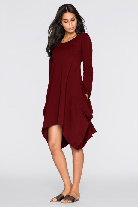 Women O-Neck Long Tunic Tops Asymmetrical Hem Long Sleeve Pockets Casual Shirt Solid Blouse burgundy