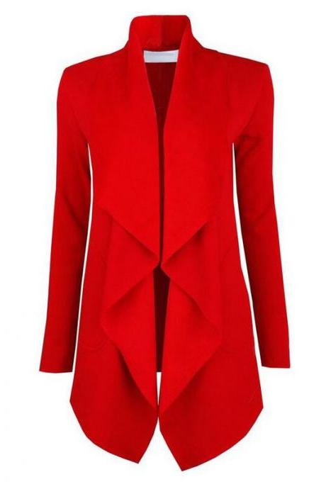 Spring Autumn Turn-down Collar Coat Women Long Sleeve Cardigan Solid Asymmetrical Jacket Outwear red