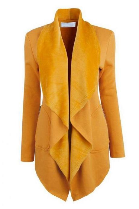 Spring Autumn Turn-down Collar Coat Women Long Sleeve Cardigan Solid Asymmetrical Jacket Outwear yellow