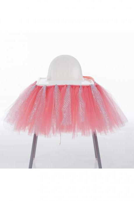 Tutu Tulle Table Skirts High Chair Decor Baby Shower Decorations for Boys Girls Party Set Birthday Party Supplies coral+silver