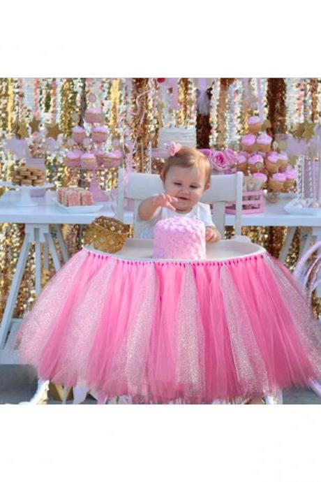 Tutu Tulle Table Skirts High Chair Decor Baby Shower Decorations for Boys Girls Party Set Birthday Party Supplies deep pink+silver