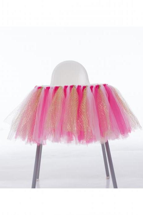 Tutu Tulle Table Skirts High Chair Decor Baby Shower Decorations for Boys Girls Party Set Birthday Party Supplies hot pink+pink+gold
