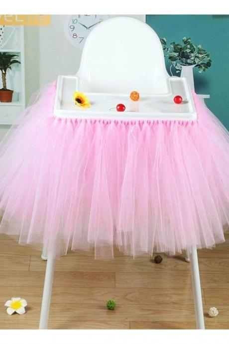 Tutu Tulle Table Skirts High Chair Decor Baby Shower Decorations for Boys Girls Party Set Birthday Party Supplies pink